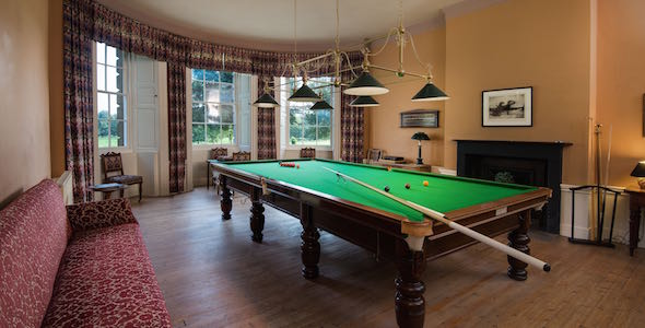 The billiards room has a full size table